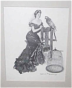 Antique Vintage Prints: Victorian Lady & Bird: Underwood