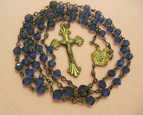"""21"""" Antique Blue Glass Rosary Beads Vintage Brass Rosaries"""