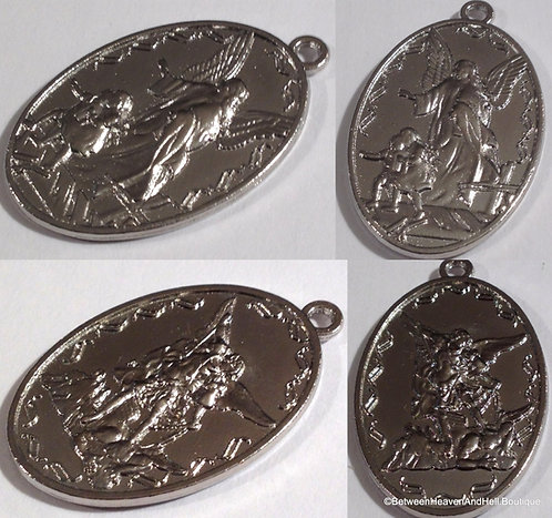 Large Men's Saint Michael Archangel Guardian Angel Medal, Religious jewelry