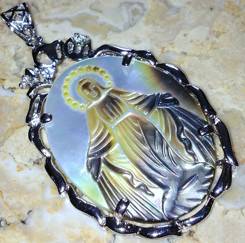 Large Carved Abalone Shell Our Lady Of Grace Virgin Mary Cameo Pendant