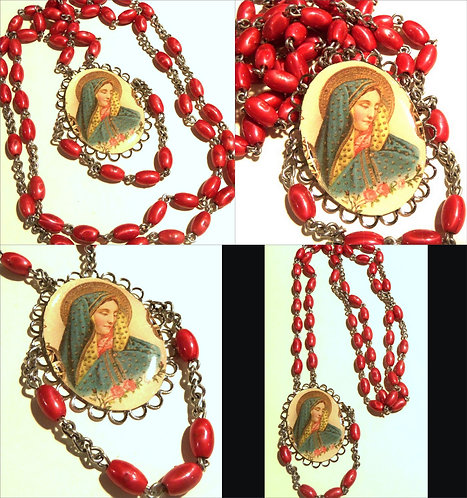 """32"""" Vintage Red Rosary Beads Religious Necklace Virgin Mary of Sorrows w/ Roses"""