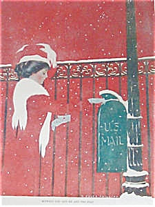 Antique Coles Phillips Print Mailing Christmas Cards Vintage Fade Away