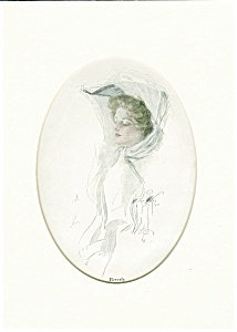 Antique Harrison Fisher Print Beautiful Ladies Hats Edwardian Victorian Fashion