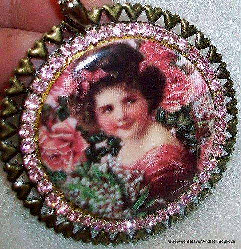 Large Victorian Girl with Roses Porcealin Cameo Pendant Pink Rhinestone Pendant