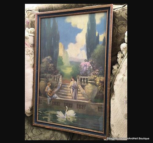 Antique Art Deco 1920's Framed Print Ladies Swans Garden R.a Fox style
