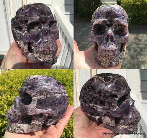 """5"""" Large Activated MASTER Crystal Skull Druzy Amethyst Karma Healing Skull"""