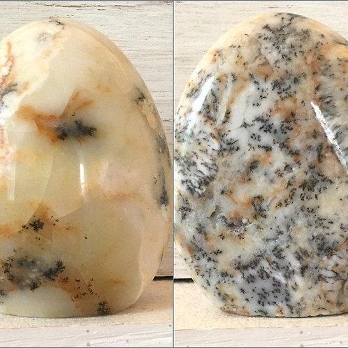 "4"" Standing Dendritic Agate Crystal Sculpture, Polished Merlinite Specimen"