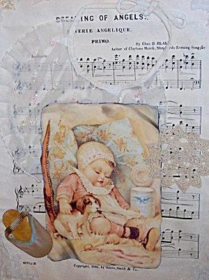 Victorian Art Print Antique Fabric Collage Newborn Nursery Decor