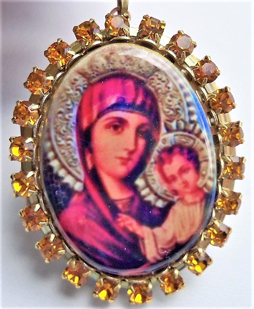 Icon Cameo Prayer Locket Madonna and Child Blessed Mother Virgin Mary Jewelry