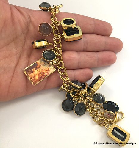 Handmade Chunky Religious Charm Bracelet Gold tone Virgin Mary, Saints Jesus