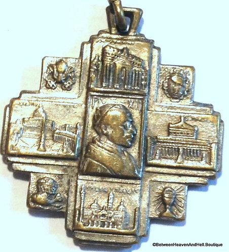 Vintage Maltese Cross Pius Xll Holy Medal, Rome Italy