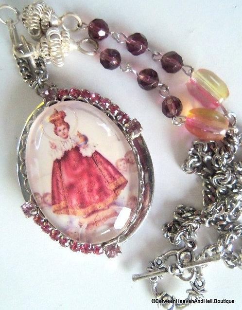 Vintage Infant Of Prague Rhinestone Cameo Prayer Locket Necklace