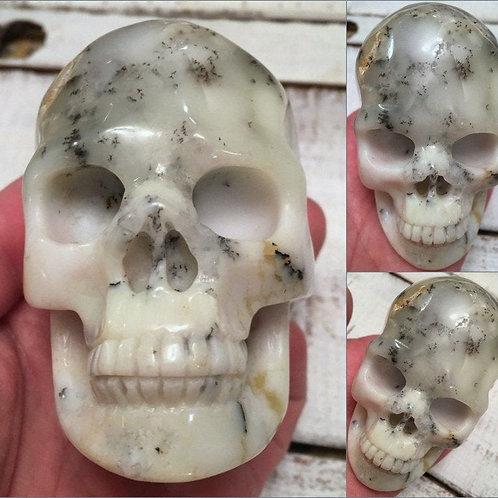 "Rare 3.5"" Merlinite Dendritic Opal Crystal Skull - Black White Pink Agate"