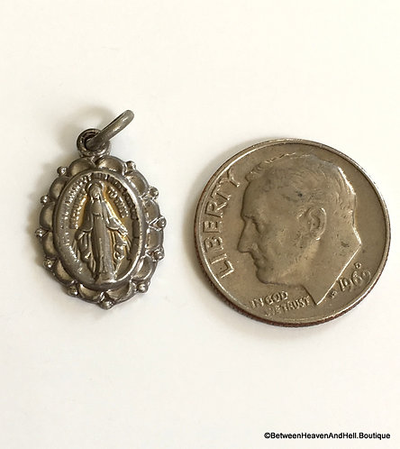 Small Vintage Sterling Silver Pendant Miraculous Medal Virgin Mary Charm