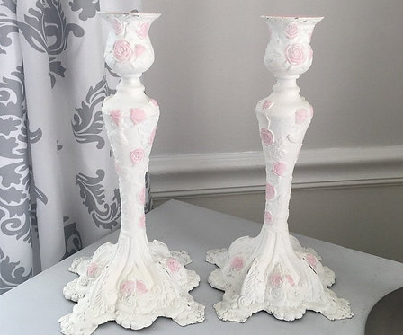 2 Shabby distressed White w/ pink roses Candlesticks Painted Metal Cottage Decor