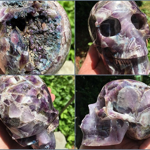 """5"""" Large Activated Amethyst Crystal Skull - Rainbow Aura Quartz Druzy Skull"""