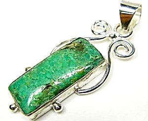 Natural Green Chrysoprase Sterling Silver Pendant