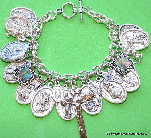 Loaded Saint Charm Bracelet Silver St. Philomena Pio Peregrine Virgin Mary Jesus