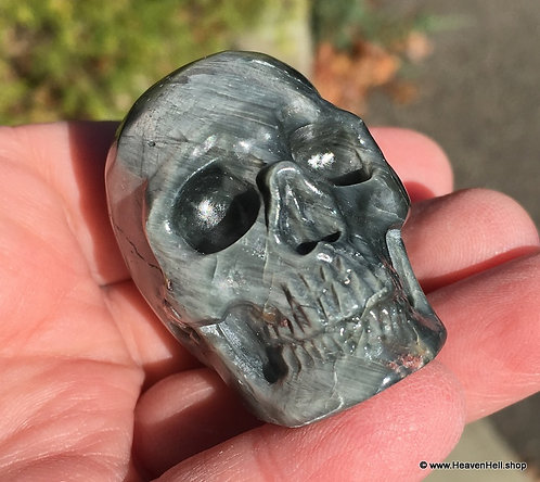 Rare Activated Crystal Skull Green Tiger Eye Hawk's Eye Skull Abundance Success