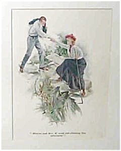 Antique Harrison Fisher Illustration Color Print: 1905 Hiking