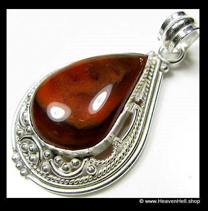 Vintage Teardrop Red & Black Swirl Onyx Pendant Sterling Silver Jewelry