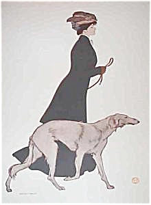 Antique Dog Art Edward Penfield Victorian Lady Russian Wolfhound