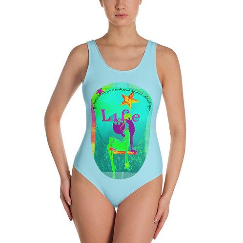 Trendy BOHO Chic Beachwear Swimsuit Full Moon Neon Psychedelic Wearable Art