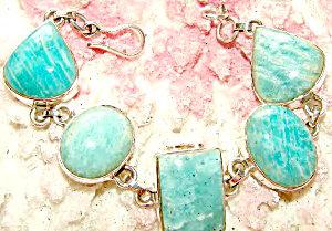 Amazonite Gemstone Jewelry: Chunky Bracelet Sterling Silver