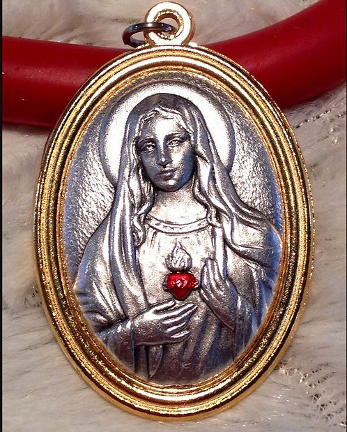 Large Silver Gold Tone Medal Immaculate Heart Virgin Mary Pendant