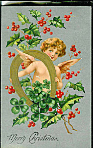 Antique Christmas Postcard Angel Victorian Cherub