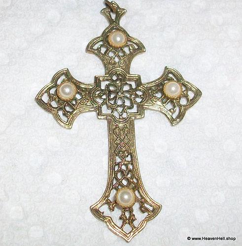 Vintage Filigree Faux Pearl Cross Pendant Christian Religious Jewelry