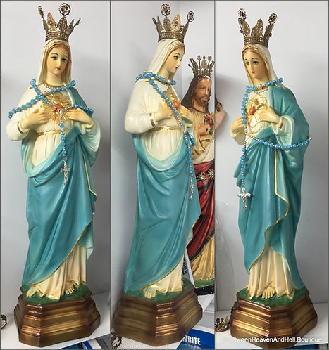 "24"" Large Virgin Mary Queen of Heaven Immaculate Heart Statue w/ Metal Crown"