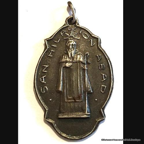 """1.25"""" Vintage Sterling Silver Catholic Holy Medal Saint Hilarion, Rare Medal"""