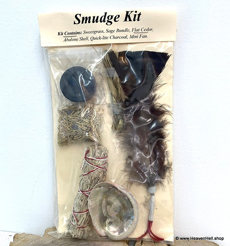 6 pc Smudge kit Abalone Shell Sage Stick Feather- Energy Clearing Home Blessings
