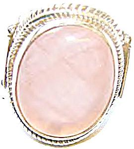 Big Oval Rose Quartz Ring 8 Sterling Silver