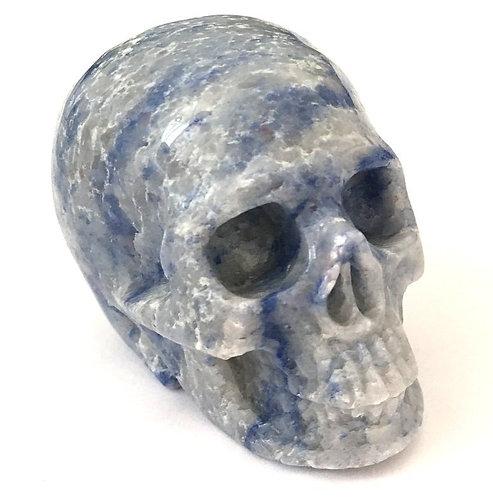 Activated Blue Aventurine Quartz Crystal Skull Opens Third Eye Chakra