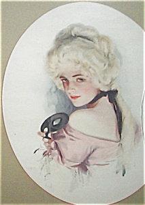 Vintage Print Harrison Fisher Victorian Masquerade Ball Mask