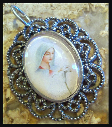 """2"""" Virgin Mary With Lilly Pendant Silver tone Blessed Mother Mary Jewelry"""
