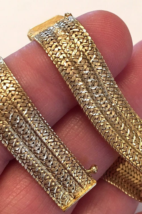 Vintage Sexy 14k Gold Bracelet Silky Smooth Tight Mesh 7 inch - Italy