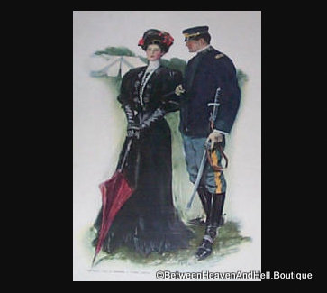 1906 Vintage Print Edwardian Lady & Soldier with sword Clarence Underwood