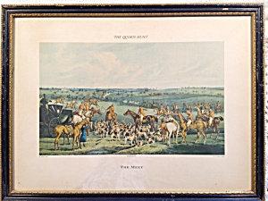 Antique Engraving Fox Quorn Hunt The Meet E. Walker Horse Dogs