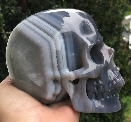 Large Activated Banded Lace Agate Crystal Skull - Tranquility