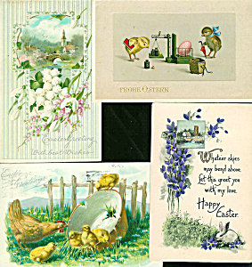 Antique Postcard Lot Easter Chicks Hen Bunny