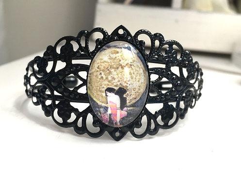 Jewelry Sexy Art Deco Woman Cuff Bracelet Full Moon Moonlight Glitter Cameo