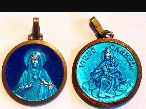 Vintage Cobalt Blue Aqua Enamel Pendant Jesus Mary Mens Scapular
