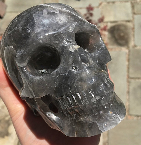 "Large 5.25"" Activated Smoke Gray Quartz Crystal Skull - Realistic sculpture"