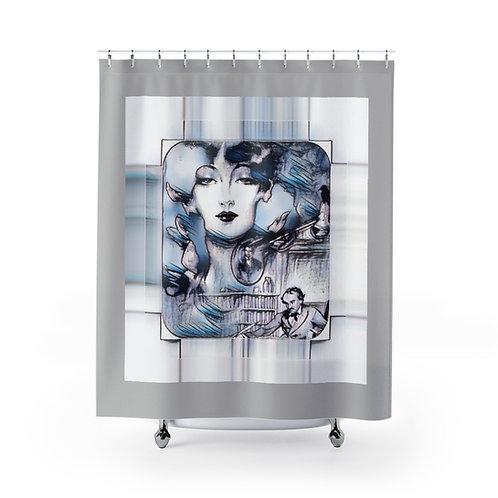 Bathroom Gray Shower Curtain Edgar Allen Poe Lenore Nevermore Gothic Home Decor