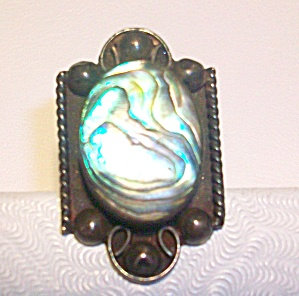Vintage Abalone Shell Ring Sterling Silver Mexico