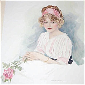 Antique Art Print Victorian Lady With Pink Roses Henry Hutt