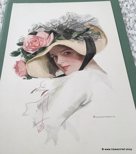 Vintage Harrison Fisher Print Victorian Lady Pink Roses Flower Hat, June Sue